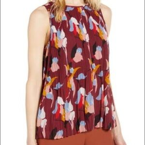 Halogen Sleeveless Pleated Georgette Top Floral